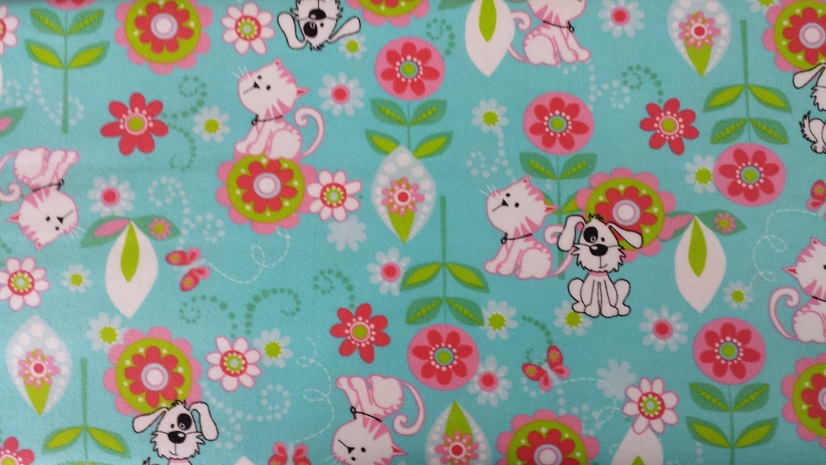 40cm piece - Flower, cat and dog, light blue - Flannel Fabric - Click Image to Close