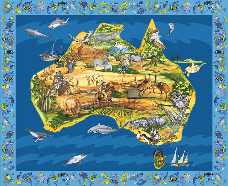 Map of australia panel large map panel 36 x 44 australian2290 map of australia panel large map panel 36 gumiabroncs Image collections