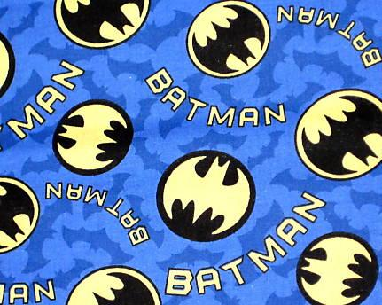 Batman symbols and words on Blue background with Bats - Click Image to Close