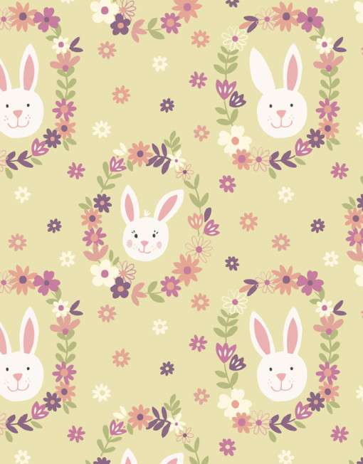 Bunny Garden on Light Green Background Rabbit Heads in Flowers - Click Image to Close