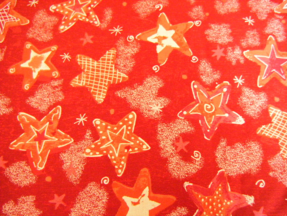 Christmas - Red & White Stars on a Red Background - Click Image to Close
