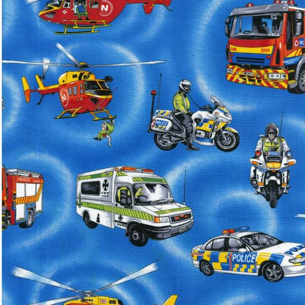 Emergency Fire Engine Police Ambulance Fabric - Click Image to Close