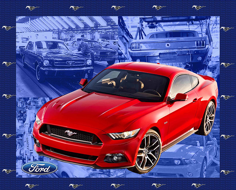 Red ford mustang large panel 90cm x 110c