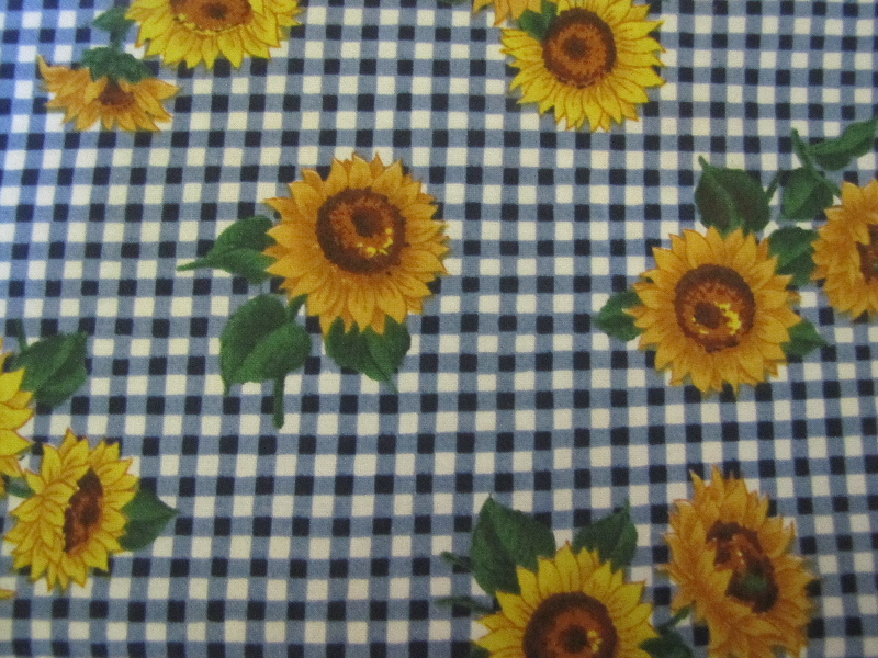 Golden Sunflowers on a Royal Blue & White Check - Click Image to Close