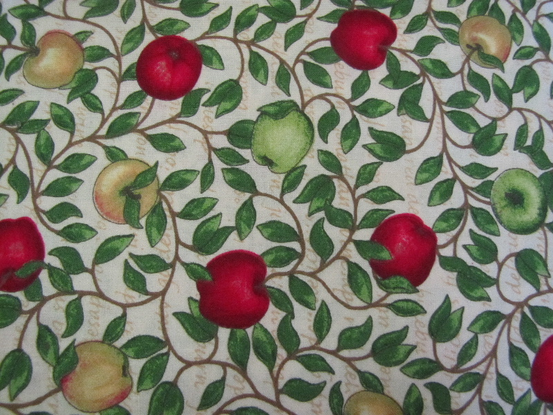Red & Green Apples, Leafy Vine on a Cream Background - Click Image to Close