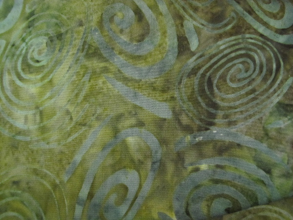 Batik in Shades of Green with Swirls - Click Image to Close