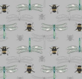 The Botanist Bees and Dragonfly on grey background - Click Image to Close