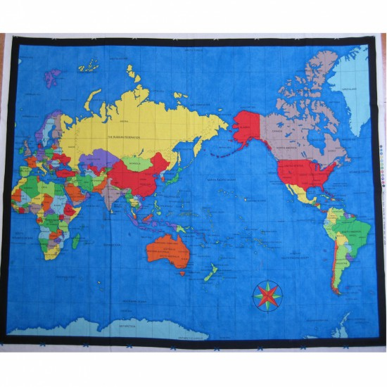 Fabric Map of the World Approx 90cm x 112cm - Click Image to Close