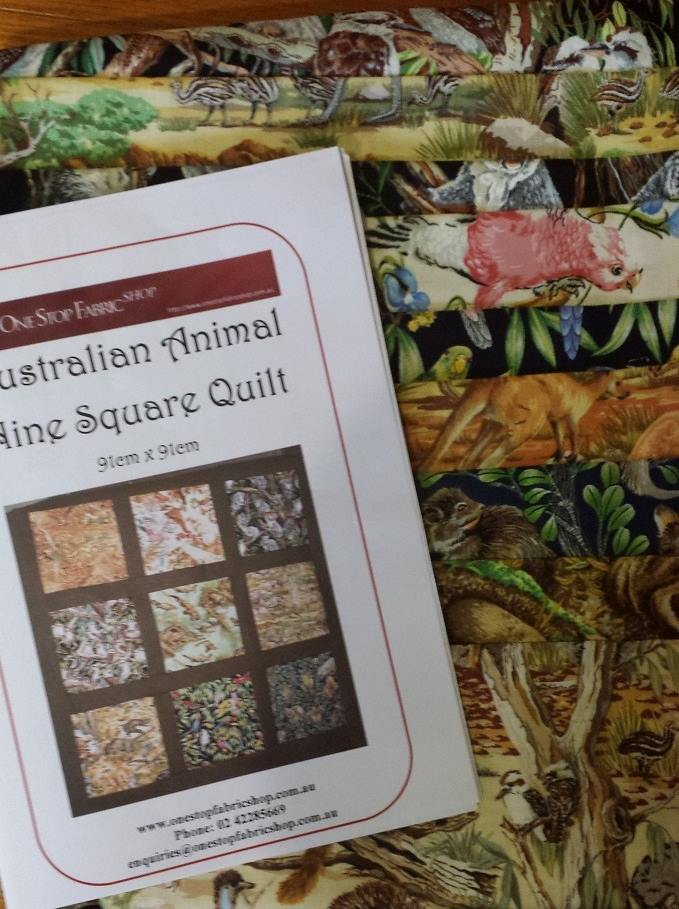 Australian Animal Nine Square Quilt Kit - Click Image to Close
