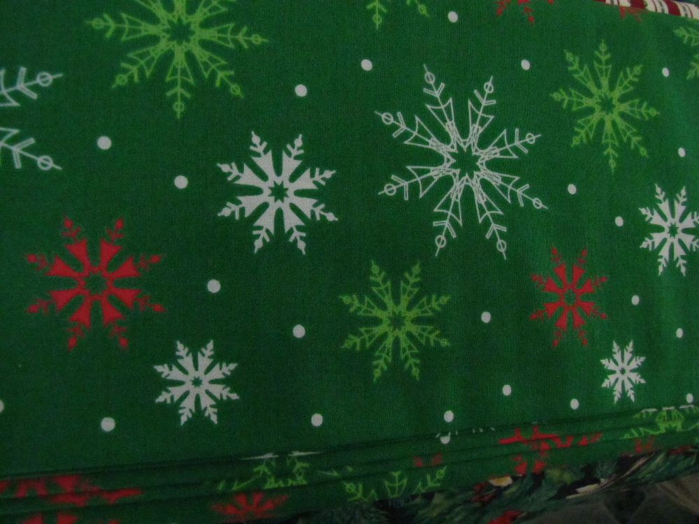 Green with White, Red and Light Green Snowflakes and White Spots - Click Image to Close