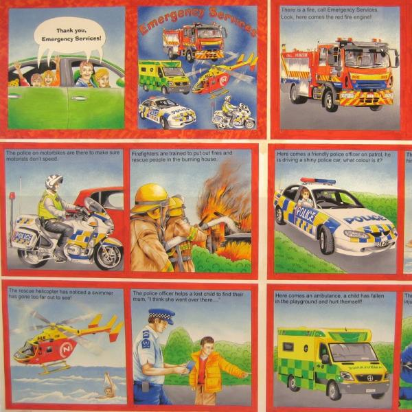 Book panel - Emergency police, fire engine, helicopter - Click Image to Close