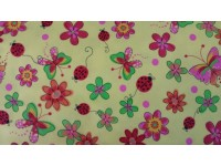 Ladybird Ladybeetle with Flowers - Flannel Fabric