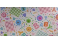 Baby Words and Buttons - Flannel Fabric