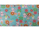 Flower, cat and dog, light blue background - Flannel Fabric