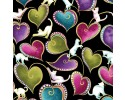Cat-I-Tude: Hearts & Cats Black with Gold Metallic Print