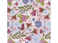 Flutter Pink - Butterflies, Flowers on a Pink Background