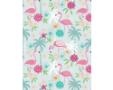 Flamingo with flowers and palm trees on light blue background