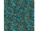 Cat-I-Tude: Feather Frolic Teal with Gold Metallic Print