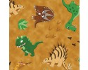Green & Brown Dinosaurs on a Mottled Brown Background
