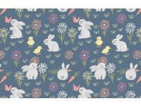 Bunny Garden rabbits rabbit on blue background duckling carrots