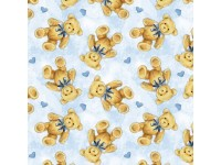 Sleepytime Animals- Teddy Bears and Hearts on Blue Background