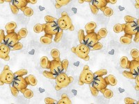 Sleepytime Animals- Teddy Bears Hearts on Light Grey Background