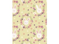Bunny Garden on Light Green Background Rabbit Heads in Flowers