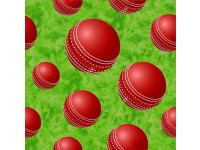 Cricket Allover Red Cricket Balls on Green