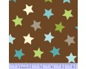 Zig Zag Collection Flannel - Blue, White & Green Stars on Brown
