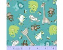 Zig Zag Collection Flannel - Aqua Blue, Elephant, Giraff, Monkey