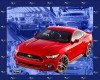 RED FORD MUSTANG - LARGE PANEL 90cm x 110c