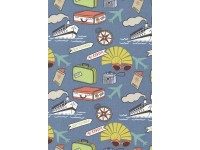 Travel Ship Sunglasses PLanes Suitcase on Blue
