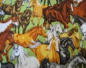 Horse - A Toss of Various Coloured Horses on a Green Background