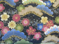 Pink, Green, Gold & Blue Flowers, Fans Gold Embossed on Charcoal