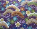 Blue, Gold, Green & Turquoise flowers on Purple Background, Gold