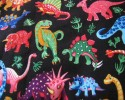 Bright Coloured Dinosaurs on a Black Background