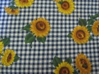 Golden Sunflowers on a Royal Blue & White Check