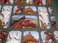 Lovely Horse Patch - Panel Fabric White & Brown Horses