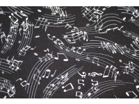 White Musical Notes on Black Background