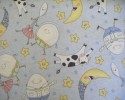 Humpty Dumpty, Dish and Spoon, Cow and Moon on Pale Blue nursery