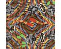 Rainbow Snake Black Australian Aboriginal Fabric