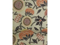 Red Dust Floral Beige, Aboriginal Dot Art, Warratah, Banksia