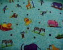 Aqua Blue with Wild African Animals Fat Quarter