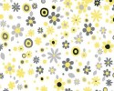 Yellow, Black and Grey Flowers Dots on White