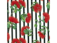 Red Blossom on White Background With Stripes