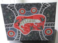 Blue Tongue Black Australian Aboriginal Fabric