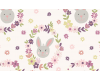 Bunny Garden Bunny Wreath on White / Cream background