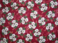 Burgundy With a Toss of White Daisies - Flannel