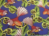 Pink and Red Fantail Birds on Bluey Purple Background with Leave