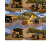 Caterpillar Trucks Diggers Excavators with clouds